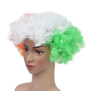 National Flag Costume Wig Party Clown Masquerade Wig for Adults World Cup Carnival