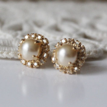 Gold Pearl Earrings, Bridal Earrings, Bridesmaid Gift, Crystal Earrings, Golden Shadow Light Gold