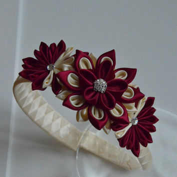 Ivory and wine girl headband - Kanzashi flower headband - bow headband - hair accessories - women headband.