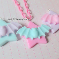 Pastel Halloween Creepy Cute Bat Star Necklace