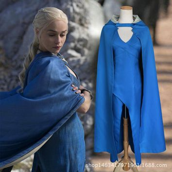Film Game of Thrones Daenerys Targaryen Cosplay Costume Blue Dress Cloak A Song of Ice and Fire Movie Cosplay Clothing