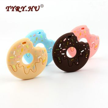TYRY.HU BPA Free Donuts Silicone Teether Food Grade Silicone Teething bijtring Baby Tooth Care Toys For Necklace Jewelry Making