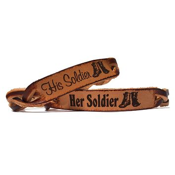 Her Soldier His Soldier Engraved Leather Bracelets (Pair)