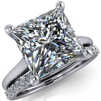 Willie Princess/Square Moissanite Bow Under Cathedral Engagement Ring