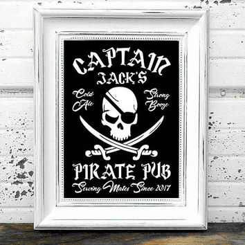 Pirate Bar Sign // Personalized Printable BW Pirate Bar Sign // Pirate Pub Sign // Pirate Sign // Pub Sign // Bar Decor // Pub Decor