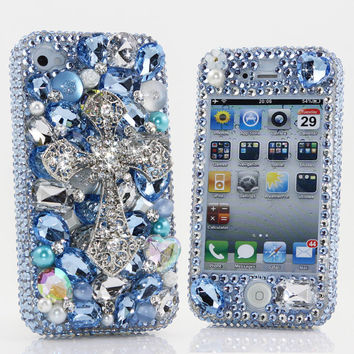 iphone 5 5S 5C 4/4S - Samsung Galaxy S3 S4 Note 2 3 - Handcrafted Case Cover 3D Luxury Bling Crystal Diamond Loyal Blue Gem Silver Cross_448