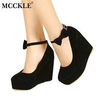 Women Suede Platform Wedges With Ankle Strap Buckle Closure