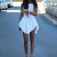 White Sleeveless Asymmetrical Pleated Dress | SPREDFASHION