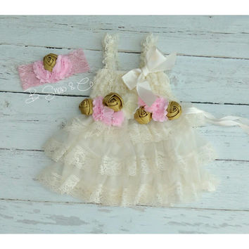 Baby Girl 1st Birthday Outfit,Pink and Gold Party, Pink and Gold Birthday,Pink and Gold First Birthday,3 Pc Baby Girl Toddler Dress and Sash