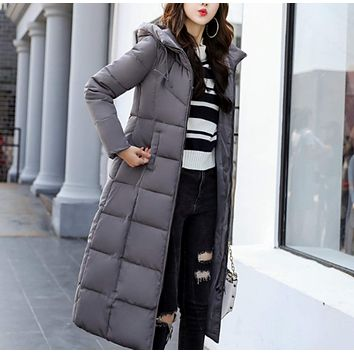 Womens Long Puffy Jacket with Hood
