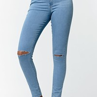Bullhead Denim Co. Baby Blue Ripped Super High Rise Skinny Jeans - Womens Jeans - Blue