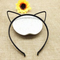 DCCKWJ7 kids black cat ears head bands fashion Lady Girl Hairband Sexy Self Headband Baby birthday party Hair Accessories for Women hoop