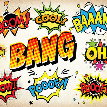 33 Superhero Clipart Comic Book Clip Art Comic Text Speech Bubbles - Boom, Hello, Bang, Bam, Cool, Pow Sounds Sayings - 300 dpi