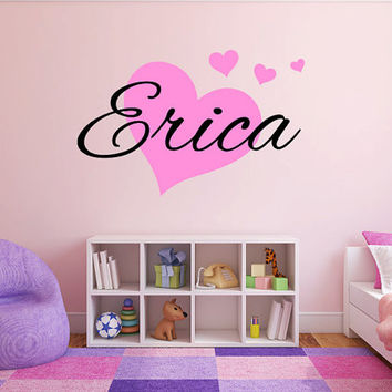 Personalized Hearts Name Monogram Girls Bedroom Vinyl Wall Decal Graphics Bedroom Home Decor