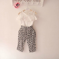 2015 Hot selling fashion baby girls clothes set children and kids clothes suit shirt + pants sets high quality