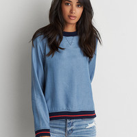 AEO Denim Tencel Sweatshirt , Blue