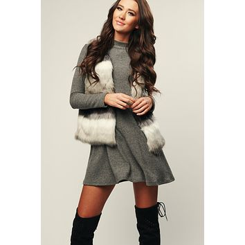 Foxy Faux Fur Vest (Grey/Multi)