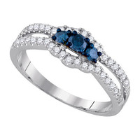 Diamond Fashion Ring in 14k White Gold 0.51 ctw