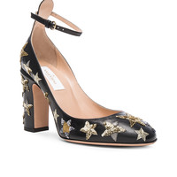 Valentino Leather Tan-Go Pumps in Nero | FWRD