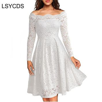 Woman Dresses Long Sleeve Slash Neck Wedding Party Wear Casual A-line Sexy Red Black White Lace Dress Plus Size S-3XL