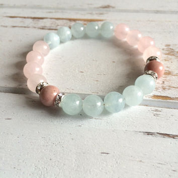 Balance ~ Genuine Aquamarine, Rose Quartz & Rhodonite w/ Sterling Silver Accents~ Serenity