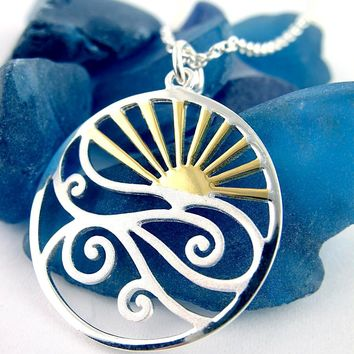 Gold Plated Sunset Over Ocean Waves Necklace
