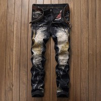 Embroidery Denim Pants Fashion Ripped Holes Vintage Jeans [1922679832669]