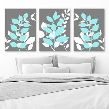 Gray Aqua Wall Art, Bedroom Wall Decor, Leaves CANVAS or Prints, Leaf Bathroom Decor, Foliage Wall Decor, Flower Art, Set of 3 Home Decor