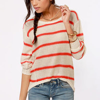 Just My Stripe Cream and Red Striped Sweater