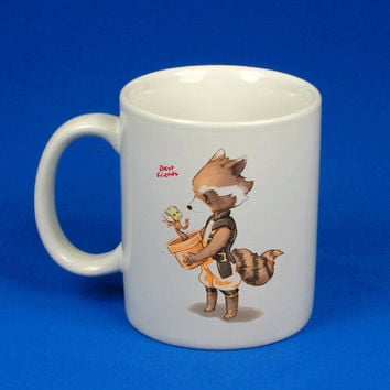 Groot and Rocket Racoon custom mug, cup, funny mug , funny cup,, :)
