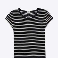 Saint Laurent Loose T SHIRT IN BLACK And White Striped Silk Jersey - ysl.com