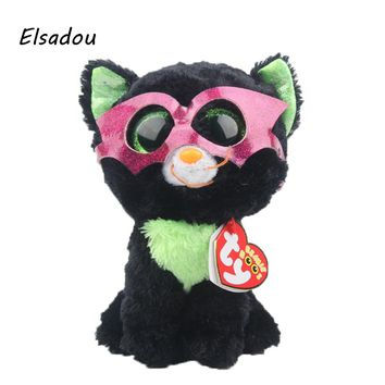 Elsadou Ty Beanie Boos Stuffed & Plush Animals Black Cat With Mask Toy Doll