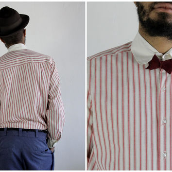 Vintage Mens Shirt . Barbershop Uniform . Red and White Stripe Top