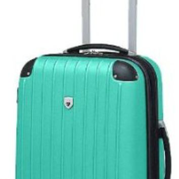 Travelers Club Teal 20'' Carry-On Spinner Luggage 20 Inch Teal/black