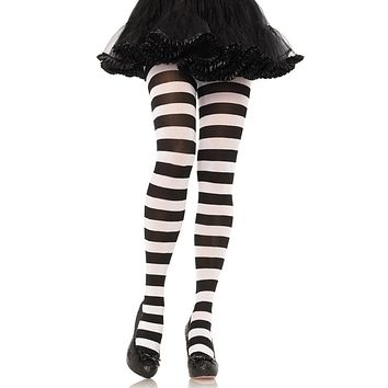 Witch Way Black White Horizontal Stripe Pattern Tights Stockings Hosiery