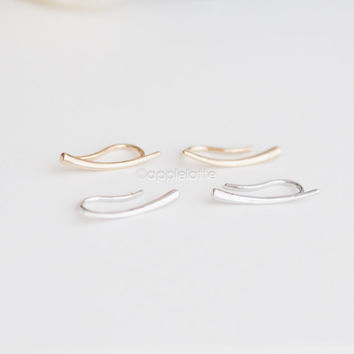 Bar Ear Pin Earrings, Simple Minimalist Ear Climbers , line Ear Crawlers, climbing stud ear pins, pierced ear cuffs_1 pair