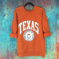 Vintage University of Texas Sweatshirt Raglan Longhorns Pullover UT Austin Tx College Jumper Old Collegiate Retro Football Sweater Orange