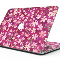 Flowers with Stems over Wine Watercolor - MacBook Pro with Retina Display Full-Coverage Skin Kit