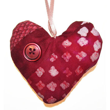 Fabric Heart Ornament, Valentines Day, Red