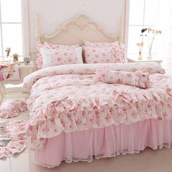 Korean style Printing Bedding Set Queen King Size 4/6pcs Ruffle Princess Duvet Cover Sets Pink Bedspread Bed Sheet 100% Cotton