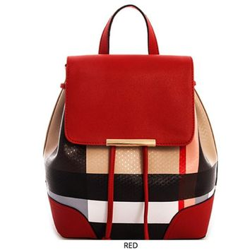 Designer Plaid Backpack. Red, Black, Tan Tartan. Soft PU Leather