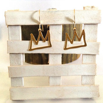 Crown Earrings Gold Earrings Silver Earrings Crown Jewelry Charm Cool Bridesmaid Gift Gift for Her Dangle Drop Crown Basquiat Beep Unique