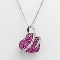 Sterling Silver Lab-Created Ruby & Lab-Created White Sapphire Wrapped Heart Pendant (Red)