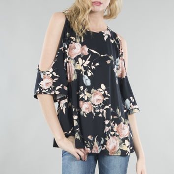 Floral Print Open Shoulder Key-Hole Back Tunic