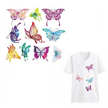 Lovely Butterfly Patches for Kids Clothes Flowers Patch DIY Accessory A-level Washable Heat Transfer Ironing Stickers Appliques