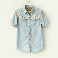 Blue Denim Floral Print Short-Sleeve Blouse With Pocket