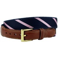 Stripes Are Way Preppy Leather Tab Belt in Navy Blue and Pink by Country Club Prep