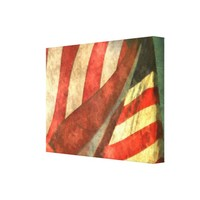 American Flag Single Panel Wrapped Canvas Print