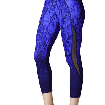 Michi Medusa Crop Leggings Python Print - Indigo