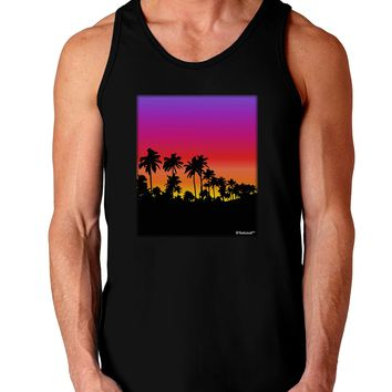 Palm Trees and Sunset Design Dark Loose Tank Top  by TooLoud
